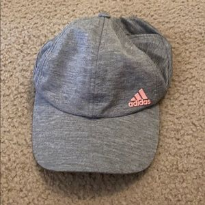 Adidas women's hat gray and pink logo